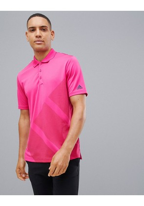 adidas Golf Bold Logo Polo In Pink - Pink