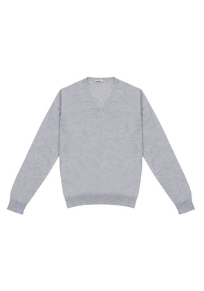 Cifonelli Grey Cashmere And Silk V-neck Sweater