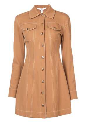 Derek Lam 10 Crosby Long Sleeve Button-Down Dress with Topstitching -