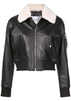 Derek Lam 10 Crosby Cropped Leather Flight Jacket with Shearling