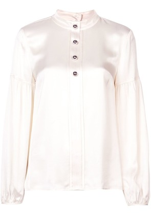 Derek Lam 10 Crosby Long Sleeve Band Collar Blouse with Buttons -
