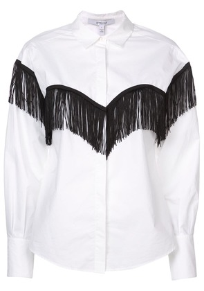 Derek Lam 10 Crosby Long Sleeve Button-Down Shirt with Fringe - White