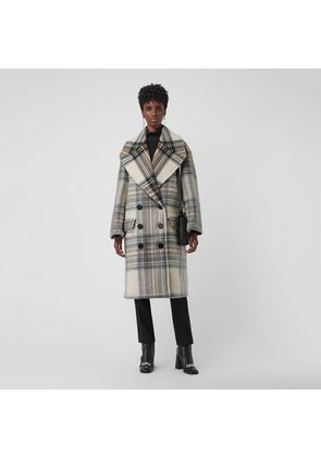 Burberry Check Wool Tailored Coat, White