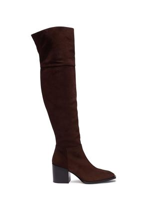'Kit' panelled suede knee high boots
