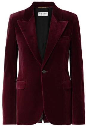 Saint Laurent - Cotton-velvet Blazer - Burgundy