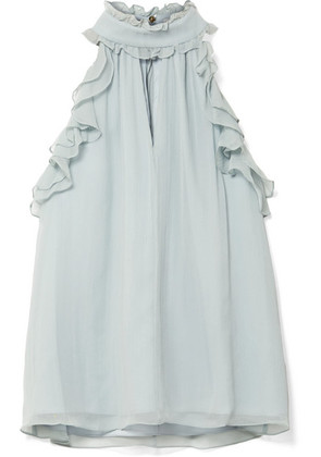 Rachel Zoe - Esther Ruffle-trimmed Silk-crepon Top - Mint