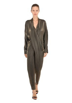 V NECK LAMÉ JUMPSUIT