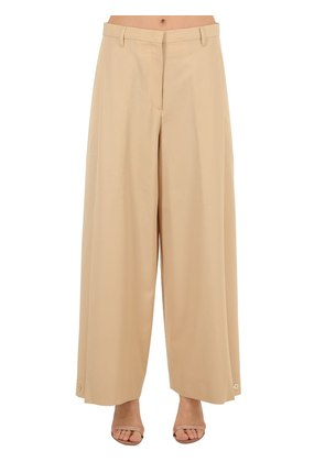 CROPPED WOOL GABARDINE PANTS