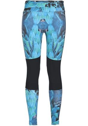 Bodyism Woman Mesh-paneled Printed Stretch Leggings Teal Size S