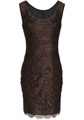 Dolce & Gabbana Woman Ruched Corded Lace Dress Brown Size 46