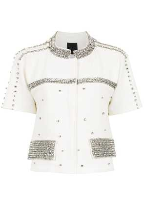 Andrea Bogosian high neck apliqué shirt - White