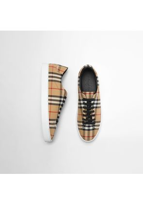 Burberry Vintage Check and Leather Sneakers, Yellow