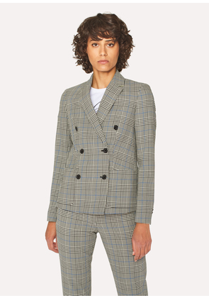 Women's Black And White Check Cotton Double-Breasted Blazer