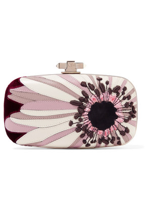 Valentino - Carry Secrets Velvet And Suede-trimmed Embroidered Leather Clutch - Purple