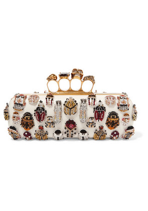 Alexander McQueen - Knuckle Embellished Leather Clutch - White