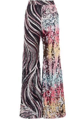 Halpern - Sequined Tulle Flared Pants - Silver