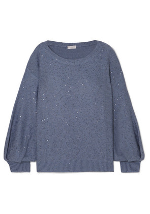 Brunello Cucinelli - Sequin-embellished Cashmere And Silk-blend Sweater - Blue