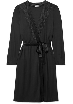 Hanro - Ava Lace And Velvet-trimmed Modal And Silk-blend Robe - Black