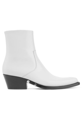 CALVIN KLEIN 205W39NYC - Tiesa Glossed-leather Ankle Boots - White