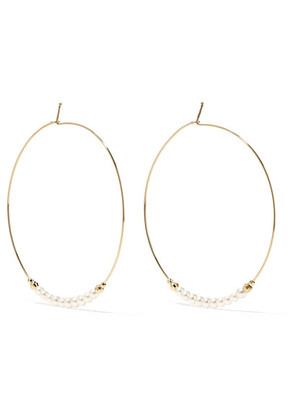 Mizuki - 14-karat Gold Pearl Hoop Earrings - one size