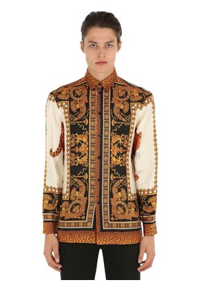 FLUID FIT BAROQUE PRINT SILK TWILL SHIRT
