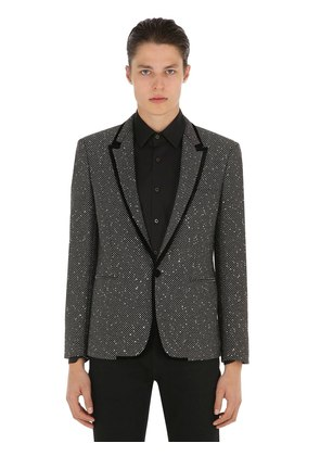 SEQUINED TWEED JACKET W/ VELVET TRIM