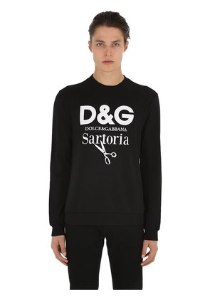SARTORIA LOGO PRINTED COTTON SWEATSHIRT