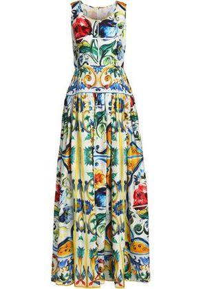 Dolce & Gabbana Woman Pleated Printed Silk Gown Yellow Size 42
