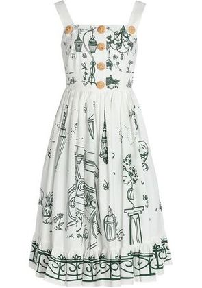 Dolce & Gabbana Woman Pleated Printed Cotton-poplin Dress White Size 38