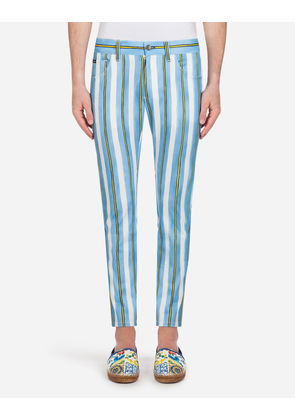Dolce & Gabbana Trousers - FIVE-POCKET PANTS IN PRINTED STRETCH COTTON MULTICOLOR