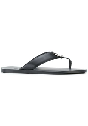 Gucci logo plaque thong sandals - Black