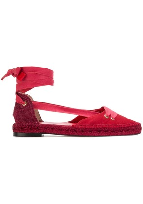 Castañer Castañer x Manolo Blahnik pointed tie up espadrilles - Red