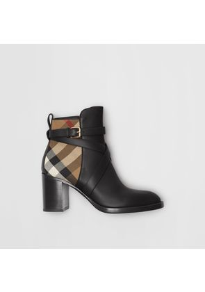 Burberry House Check and Leather Ankle Boots, Black