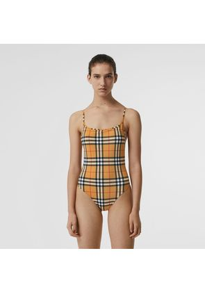 Burberry Vintage Check Swimsuit, Beige