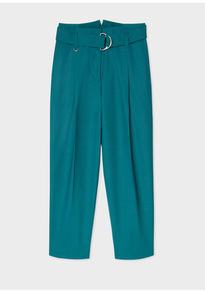 Women's Teal Houndstooth Pleated Wool Trousers With Belt