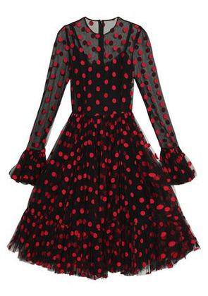 Dolce & Gabbana Woman Embroidered Polka-dot Cotton-blend Tulle Dress Black Size 40