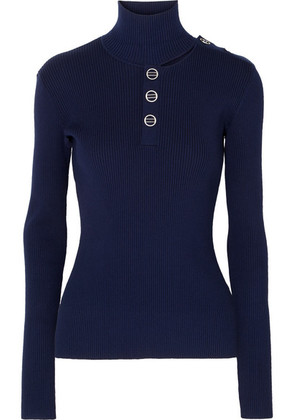 Dion Lee - Cutout Ribbed Stretch-knit Turtleneck Sweater - Navy