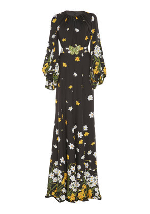 Andrew Gn Crystal-Embellished Floral-Print Silk Gown
