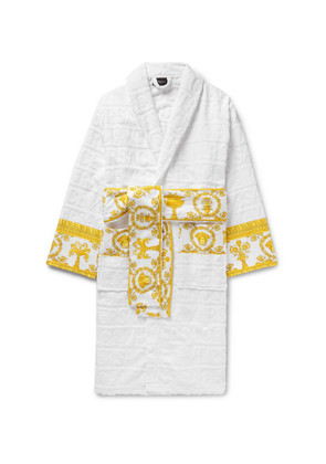 Satin-trimmed Logo-jacquard Cotton-terry Robe
