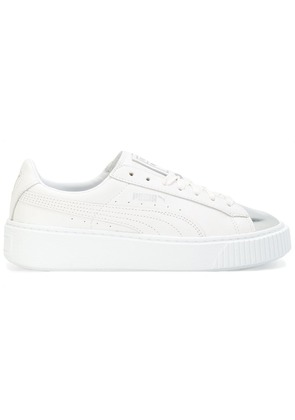 Puma silver front lace-up sneakers - White