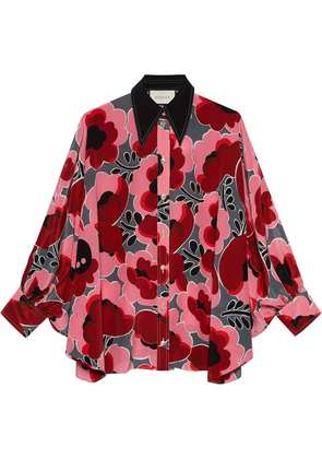 Gucci Poppies silk shirt with bow - Pink