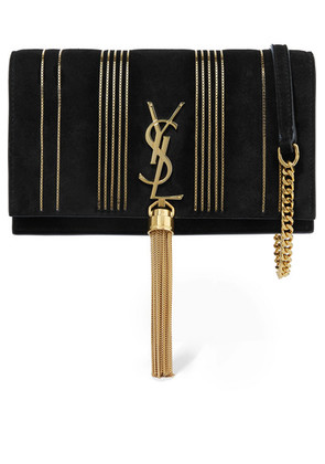 Saint Laurent - Monogramme Kate Small Embellished Suede Shoulder Bag - Black