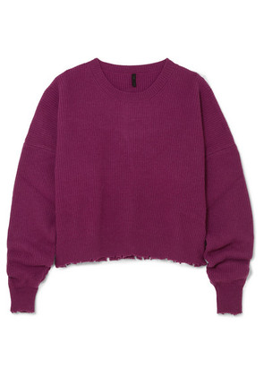 Unravel Project - Distressed Wool And Cashmere-blend Sweater - Plum