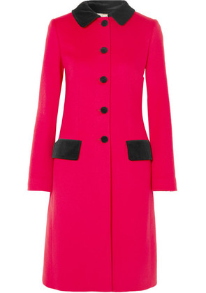 Dolce & Gabbana - Velvet-trimmed Wool And Cotton-blend Coat - Red