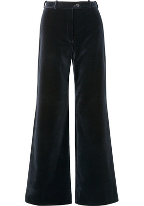 Acne Studios - Cotton-velvet Wide-leg Pants - Midnight blue