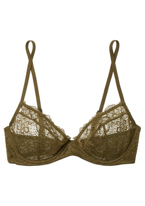 Les Girls Les Boys - Daisy Lace Underwired Soft-cup Bra - Army green