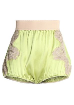 Dolce & Gabbana Woman Lace Appliquéd Silk-satin Shorts Lime Green Size 38