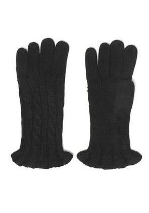 Autumn Cashmere Woman Ruffle-trimmed Cable-knit Gloves Black Size ONESIZE