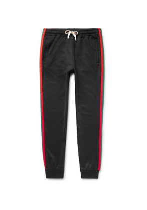 Tapered Webbing-trimmed Tech-jersey Sweatpants