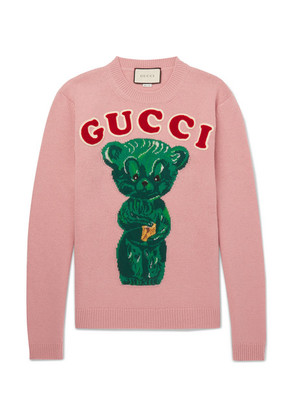 Gucci - Appliquéd Intarsia Wool Sweater - Pink